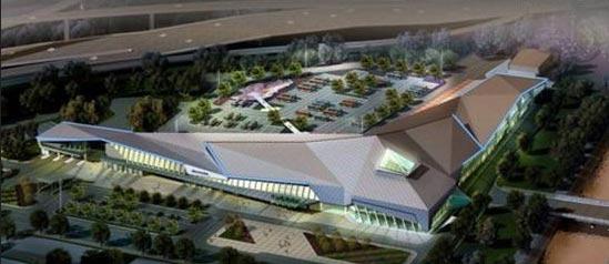 客运停车场,对应绿建筑设计手法,以折木屋顶型塑整体造型,意味汽车传