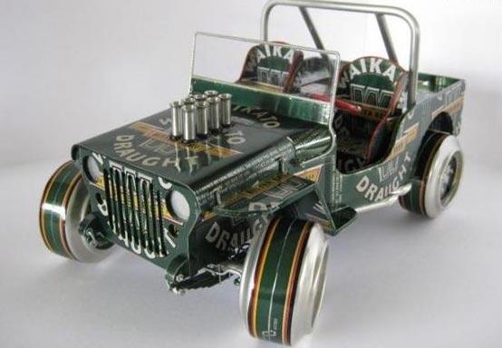 易拉罐做成的汽车模型——易拉罐手工制作
